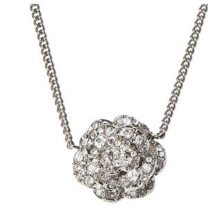 CHANEL Swarovski CC Necklace.. silver Authentic